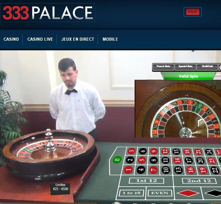 Exemple de live roulette sur 333 Palace Casino