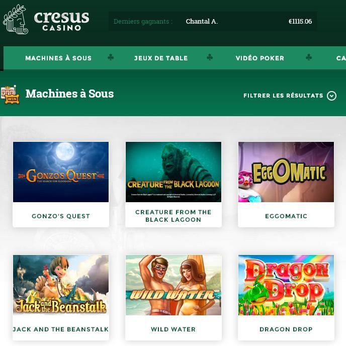 Machines a sous 3D Netent sur Cresus Casino