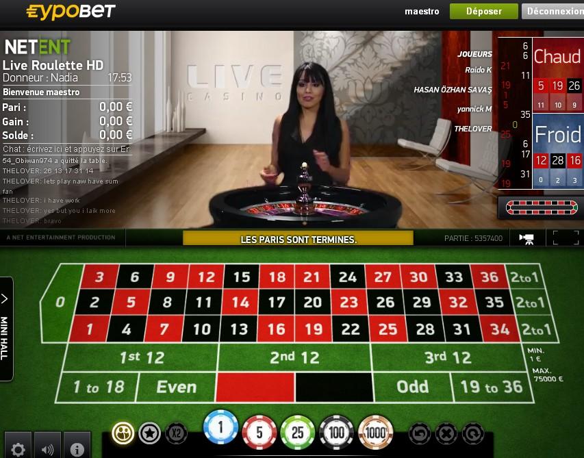 Live roulette Netent sur Eypobet