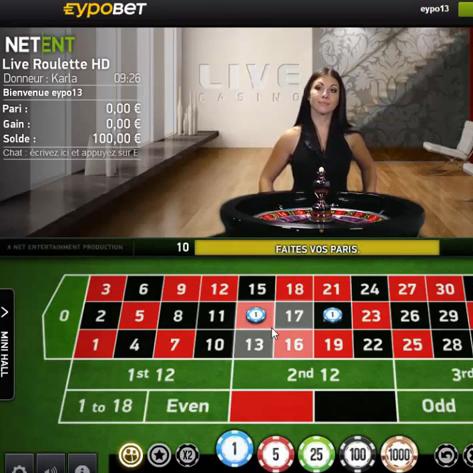 Roulette en ligne Netent sur Eypobet Casino