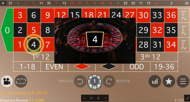 Roulette en ligne Dragonara sur casino mobile