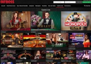Casino en live Fatboss avec plus de 180 tables avec croupiers en direct