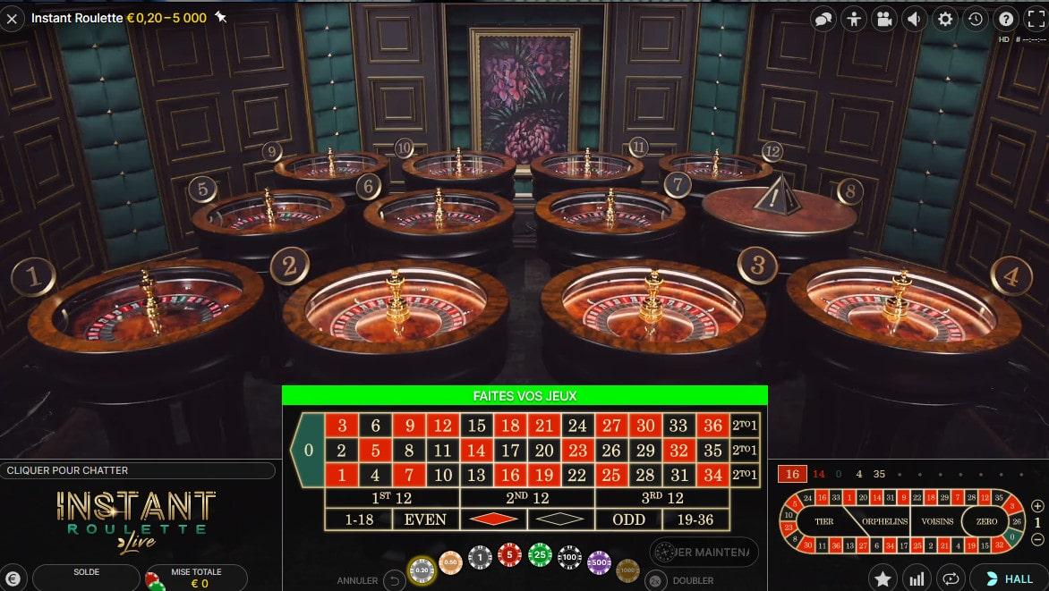 Instant Roulette est une combinaison de 12 roulettes live en direct de studio